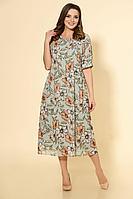 Женское летнее шифоновое зеленое большого размера платье DaLi 5440 олива 56р.