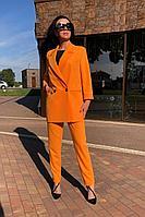 Женский летний хлопковый желтый брючный костюм Karina deLux B-434 манго 44р.