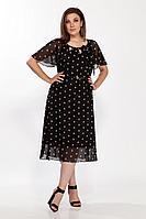 Женское летнее шифоновое большого размера платье FOXY FOX 95 горохи_черный 52р.