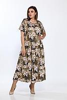 Женское осеннее из вискозы нарядное большого размера платье Lady Style Classic 1976/5 коричневый_лилии 58р.