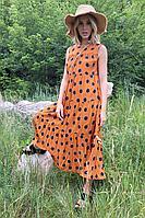 Женское летнее хлопковое оранжевое платье Lokka 771 оранжевый_горох 44р.