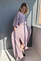 Женское летнее льняное розовое платье Pavlova 115 42р.