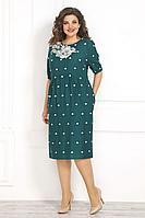 Женское летнее зеленое нарядное большого размера платье Solomeya Lux 839 зелень 48р.