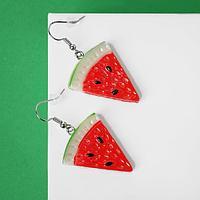 """Серьги пластик """"Вкусности"""" арбуз, цвет красно-зелёный"""