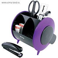 Набор настольный канцелярский 9 предметов Berlingo Satellite, чёрно-фиолетовый