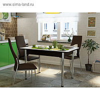 Стол «Победа» нераздвижной 120 см, стекло, опоры хром, подстолье венге, К-33