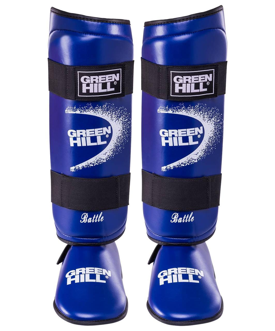 Защита голень-стопа Battle SIB-0014, к/з, синяя Green Hill