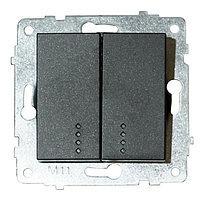 Механизм выключателя 2-клв. с подсветкой GRANO черный