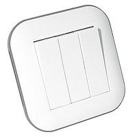 Выключатель 3-клавишный LOFT белый+серый