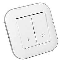 Выключатель проходной 2-клавишный LOFT белый+серый