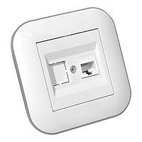 Розетка компьютерная (CAT6) LOFT белый+серый