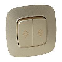 Выключатель проходной 2-клавишный золото ELA