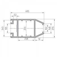 Профиль створки раздвижной двери алюминиевый экструдированный AYPC.111.0706