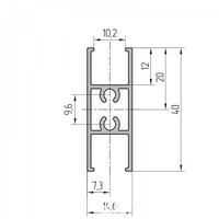 Профиль импоста створки алюминиевый экструдированный AYPC.111.0202