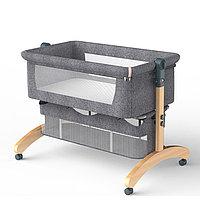 Bala Кроватка мобильная на колёсиках прикроватная с маятниковым качанием, складная.СЕРАЯ