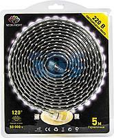 LED Лента 220В,  6x10.6 мм,  IP67, SMD 3014, 120 LED/m,  цвет свечения теплый белый,  5м (с комплектом