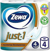 Туалетная бумага Zewa Just 1, 4 слоя, 4 рулона