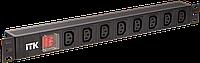 PDU 8 розеток C13, с LED выкл, 1U, вх. C14, без шнура
