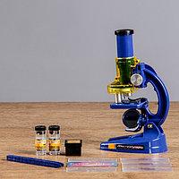 Микроскоп, кратность увеличения 1200х, 600х, 300х, синий