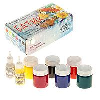 Краска для ткани акриловая, набор 6 цветов по 40 мл «Аква-Колор», «Батик» + резерв 18 мл + контур 18 мл