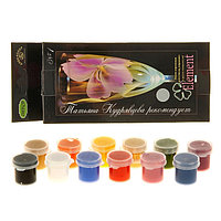 Краска по стеклу и керамике, ЭМАЛЬ, набор 12 цветов х 4 мл, Element №1