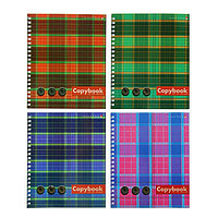 Тетрадь А5+, 80 листов клетка на гребне «Шотландка», обложка мелованный картон, МИКС