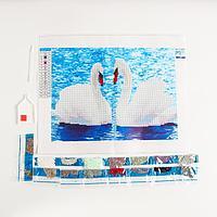 """Алмазная вышивка с частичным заполнением """"Лебеди"""", 40 х 21 см"""
