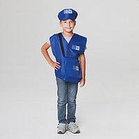 """Карнавальный костюм """"Почтальон"""", жилет, головной убор, сумка, рост 110-122 см, 4-6 лет"""