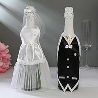 """Украшение на шампанское """"Свадебный вальс"""" белое"""