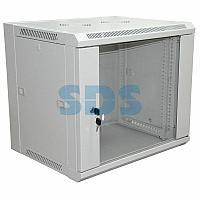 """19"""" Настенный шкаф RexantPRO 9U 600×600×500 мм (ШxГxВ) - передняя дверь стекло,  боковые стенки"""
