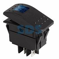Выключатель клавишный 24V 35А (4с) ON-OFF синий с подсветкой REXANT