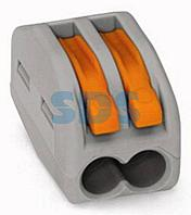 222-412 Универсальная клемма,  2-проводная,  серая (0,08-2,5/4 мм²) (50 шт. /уп. ) WAGO
