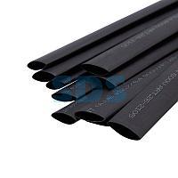 Термоусаживаемая трубка двухстенная клеевая 12,7/6,35 мм черная REXANT (уп.  10 шт.  по 1 м)