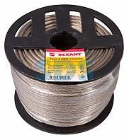 Трос стальной в ПВХ оплетке d=4,0 мм,  прозрачный (бухта 100 м) REXANT