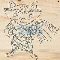 Доска для выжигания REXANT,  «Супергерой Енот»,  150х150 мм,  1 шт. ,  пакет