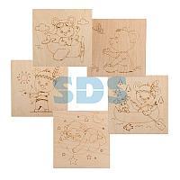 Доски для выжигания REXANT,  «Мишки»,  150х150 мм,  5 шт. ,  пакет