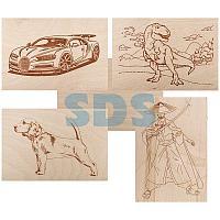 Доски для выжигания REXANT,  «Набор №1» (воин/динозавр/собака/машина/без рисунка),  148х210 мм (А5),  5 шт. ,