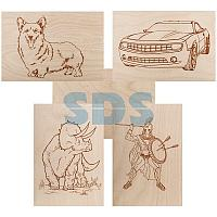 Доски для выжигания REXANT,  «Набор №2» (воин/динозавр/собака/машина/без рисунка),  148х210 мм (А5),  5 шт. ,