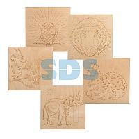 Доски для выжигания REXANT,  «Животные»,  150х150 мм,  набор 5 шт.  (Белка/Слон/Сова/Ежик/Тигр),  пакет
