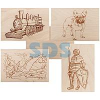 Доски для выжигания REXANT,  «Набор №3» (воин/динозавр/собака/машина/без рисунка),  148х210 мм (А5),  5 шт. ,