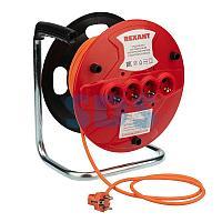 Удлинитель на катушке 30 метров 4 гнезда оранжевый ПВС 3х1.0 (10 А/2,3 кВт) REXANT (аналог 11-7084)