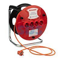 Удлинитель-шнур на катушке REXANT ПВС 3х1.0, 20 м,  4 гнезда,  с/з,  10 А,  2200 Вт,  IP20, оранжевый (Сделано