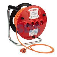 Удлинитель-шнур на катушке REXANT ПВС 3х1.0, 50 м,  4 гнезда,  с/з,  10 А,  2200 Вт,  IP20, оранжевый (Сделано