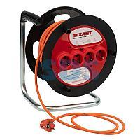 Удлинитель-шнур на катушке REXANT ПВС 3х1.5, 30 м,  4 гнезда,  с/з,  16 А,  3300 Вт,  IP20, оранжевый (Сделано