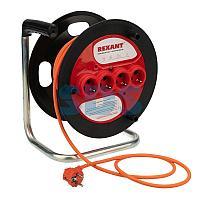 Удлинитель-шнур на катушке REXANT ПВС 3х1.5, 20 м,  4 гнезда,  с/з,  16 А,  3300 Вт,  IP20, оранжевый (Сделано