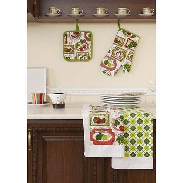 Набор кухонный «Фрукты»: прихватки - 2 шт, полотенце 38 × 64 см - 2 шт