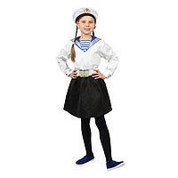 Карнавальный костюм «Морячка в бескозырке» для девочки, белая фланка, юбка, ремень, р. 32, рост 122-128 см