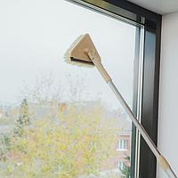Окномойка для сильных загрязнений с алюминиевым черенком и сгоном, 15×10×63 (94) см, пластиковая щетина