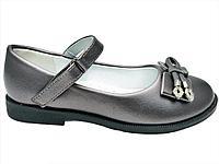 Туфли бронзовые на застёжках - липучках