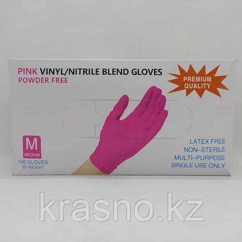 Перчатки M 100шт винило-нитрил Blend Gloves розовые